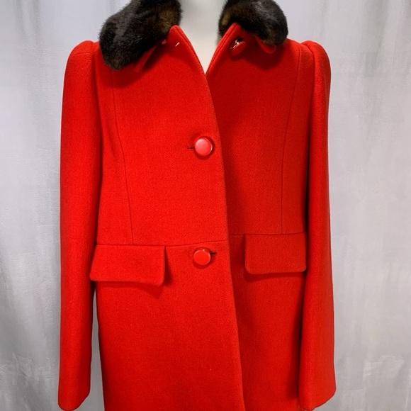 Kate Spade Wool Winter Coat Red Fur Woman's Medium